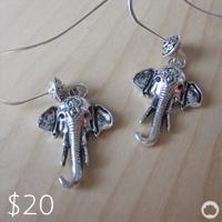 Silver Elephant Earringss